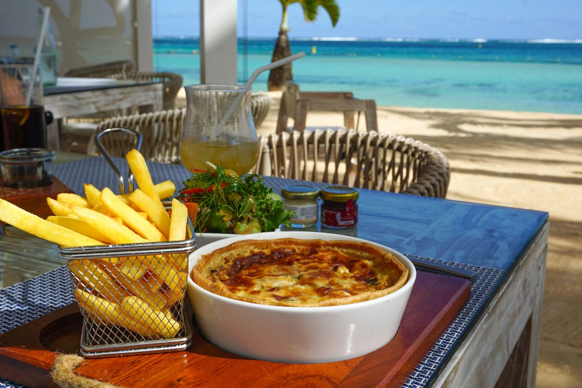 Lunch on the beach at Le Palmier, Mauritius