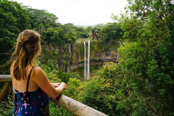 Enjoying our visit to Chamarel Waterfall, Mauritius