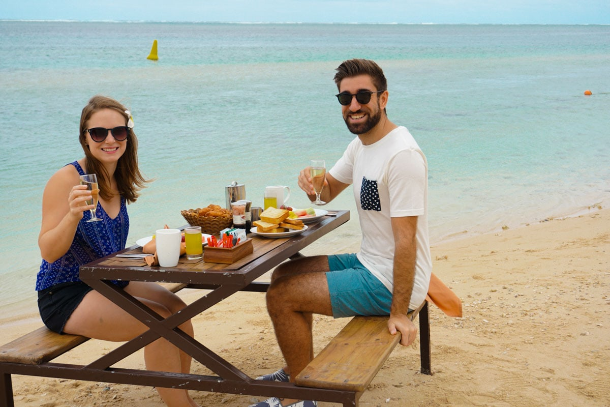 Breakfast on the beach at Heritage Le Telfair, Mauritius