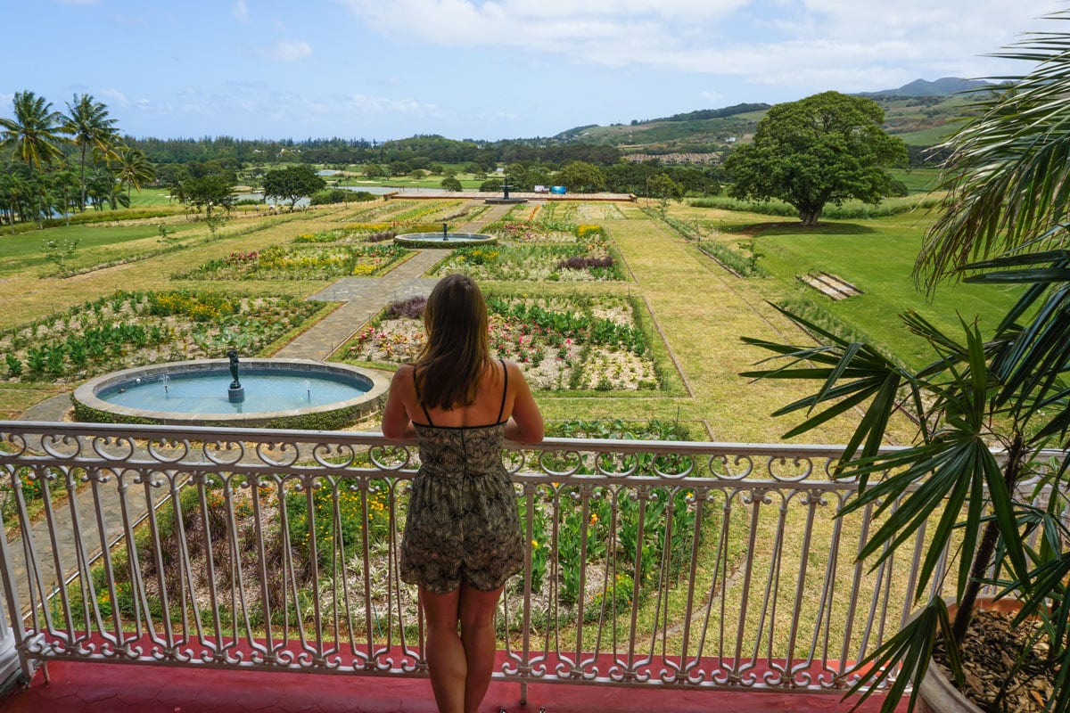 The beautiful French gardens at Le Chateau - Heritage Le Telfair, Mauritius