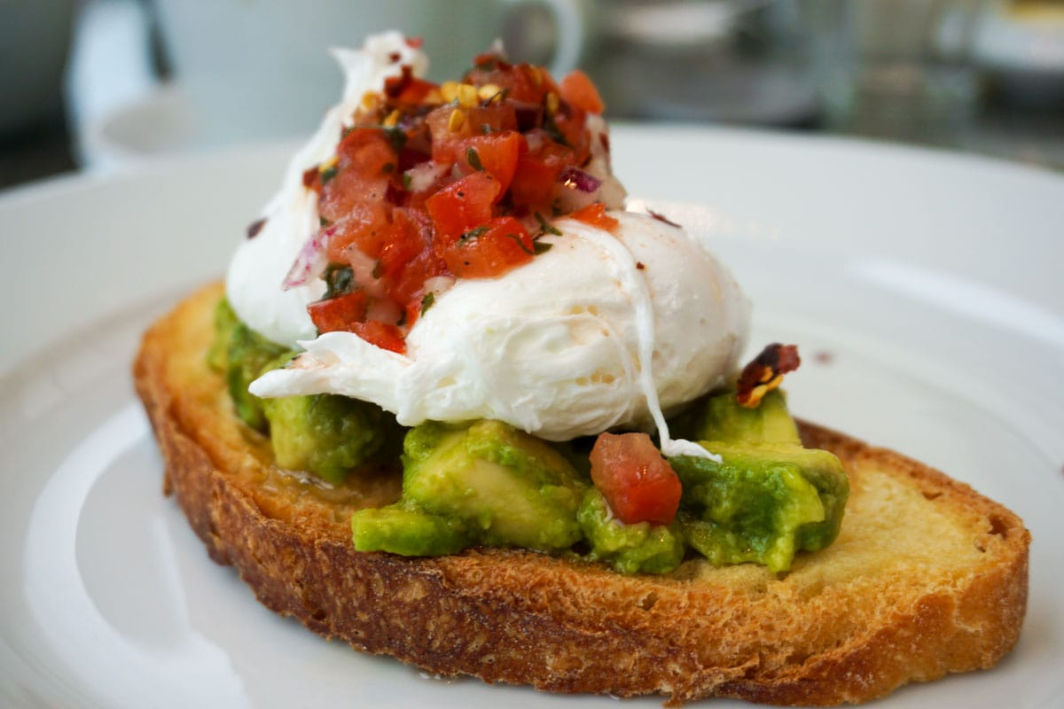Avocado and poached eggs at Hotel Du Vin Wimbledon