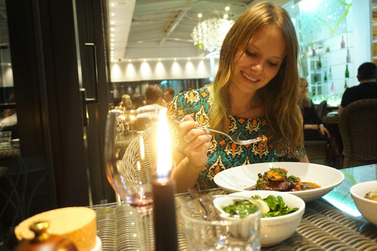 Enjoying dinner at Hotel Du Vin Wimbledon