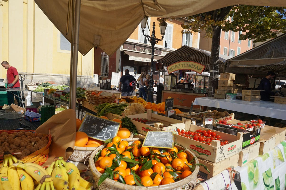 Produce on sale in Cours Saleya, Nice Market