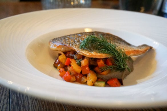 Sea bream with ratatouille at Topes Restaurant, Rochester
