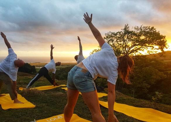 Sunset yoga in Federica Reserve, Mauritius