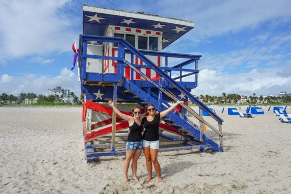 Stars and stripes lifeguard hut on South Beach, Miami