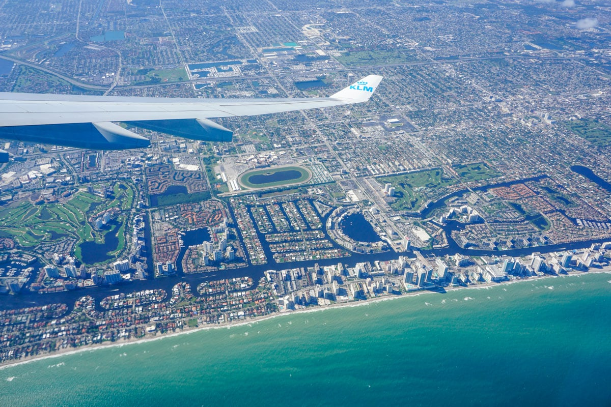 Flying over Miami with KLM