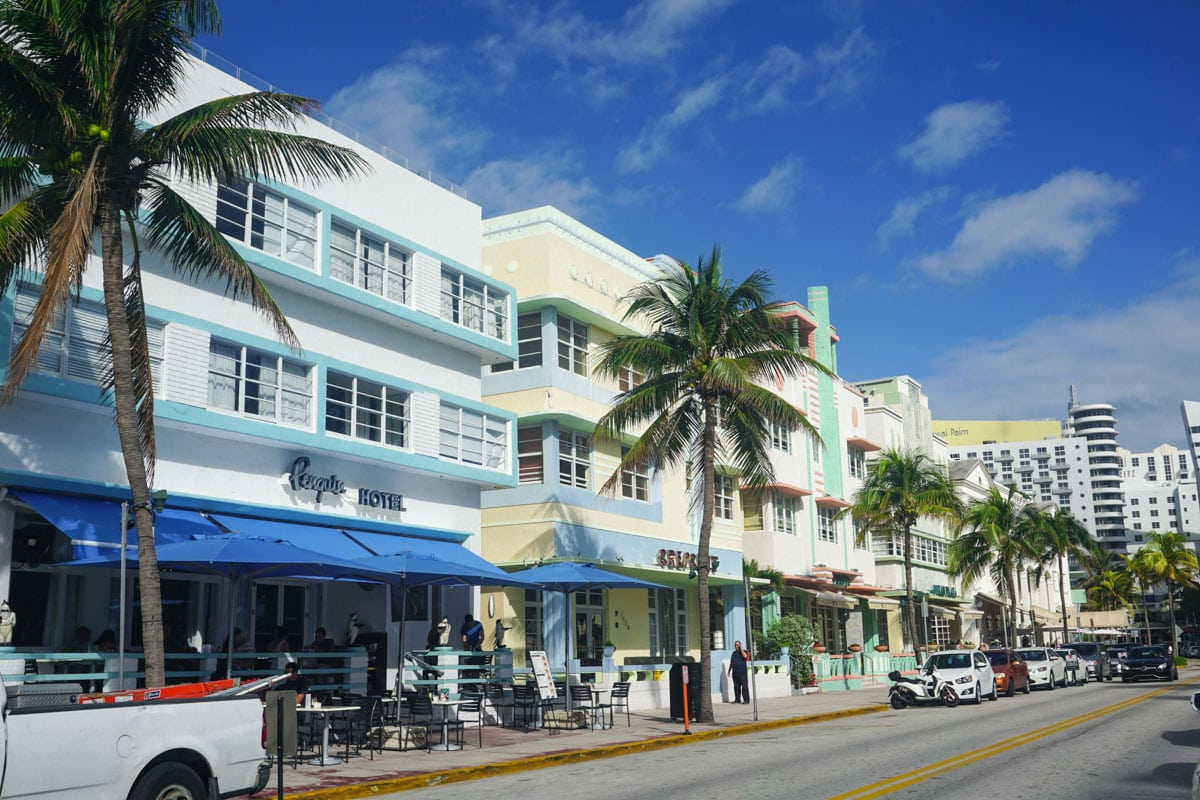 Art Deco buildings on Ocean Drive, Miami