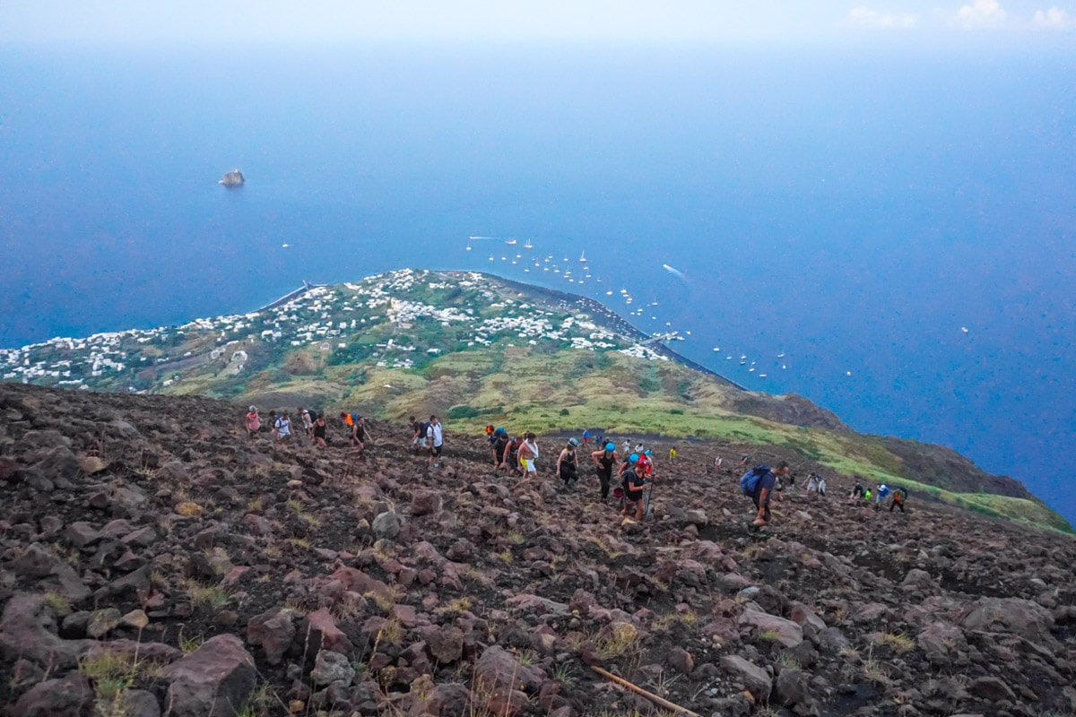 Incredible views hiking up Stromboli Volcano, Sicily