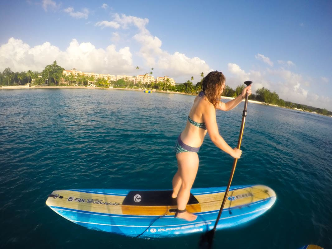 Paddle boarding in Barbados