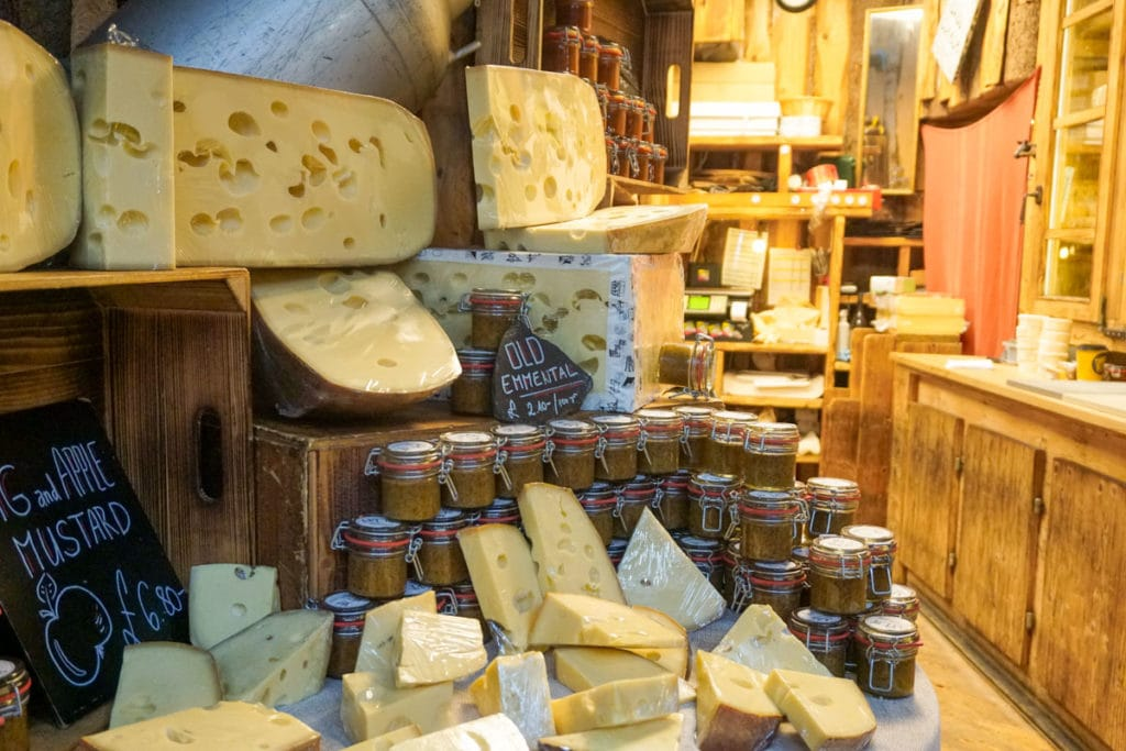Cheese stall in Borough Market, London