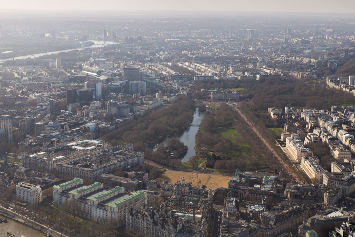 Views of Buckingham Palace from helicopter tour of London