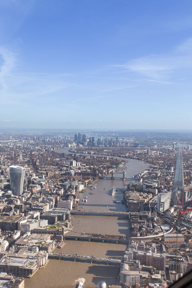 Views along the river Thames from helicopter tour of London