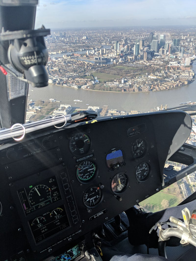 Pilot's view of Canary Wharf from helicopter tour of London