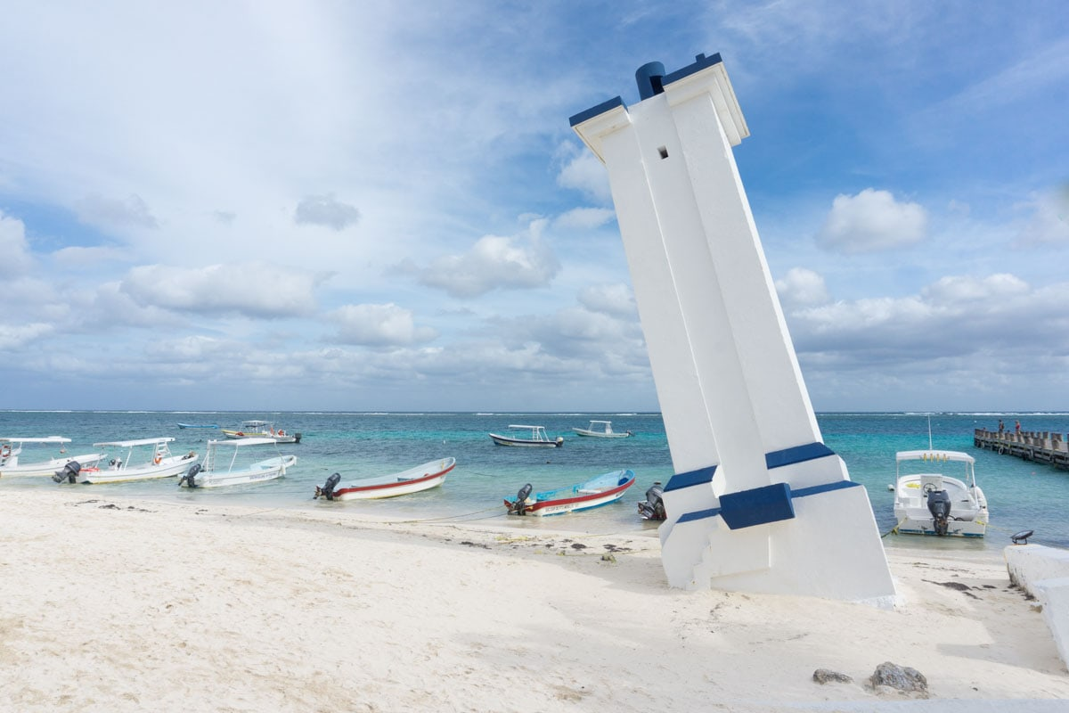 The lighthouse at Puerto Morelos, Mexico