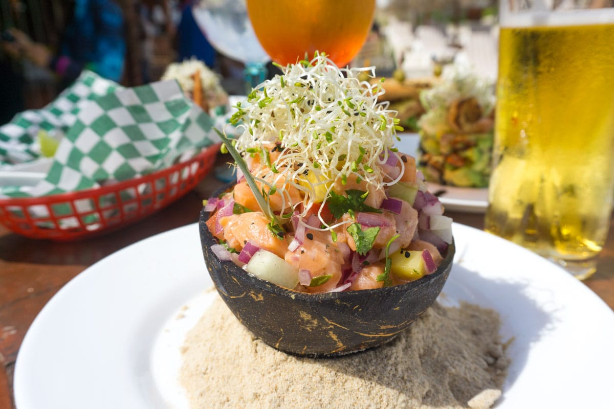 Ceviche at Unico Beach, Puerto Morelos