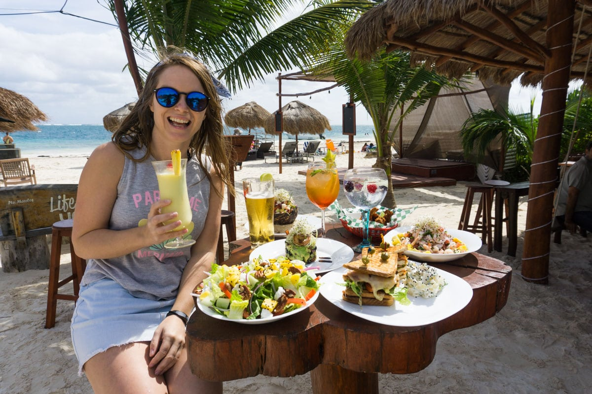 Enjoying the food at Unico Beach, Puerto Morelos