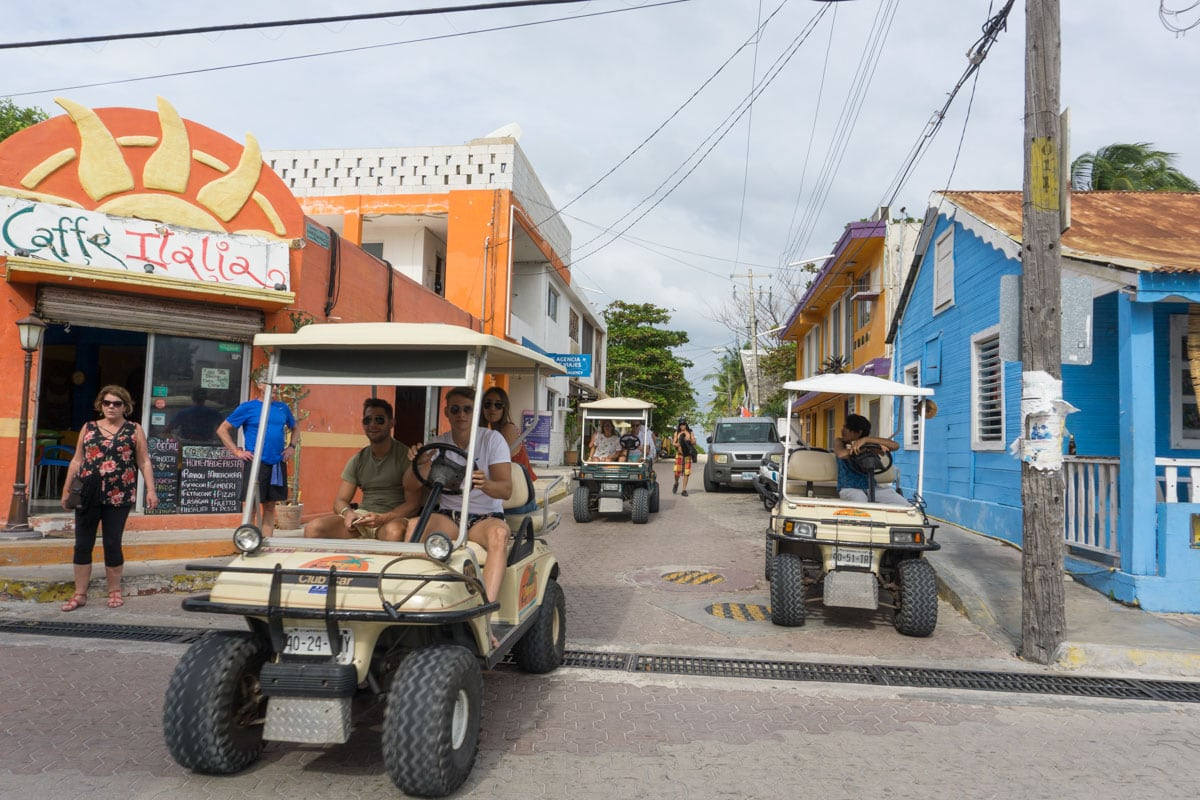Golf buggies on Isla Mujeres, Mexico