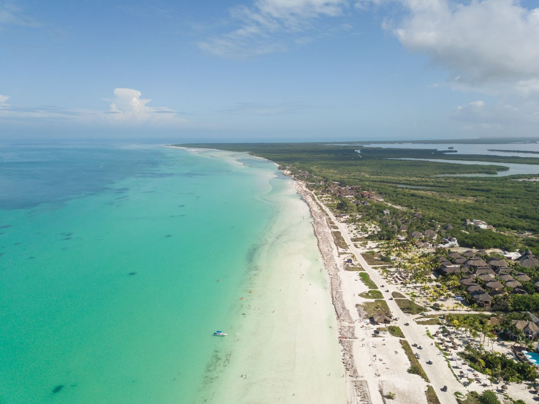 Drone view over Holbox, Mexico