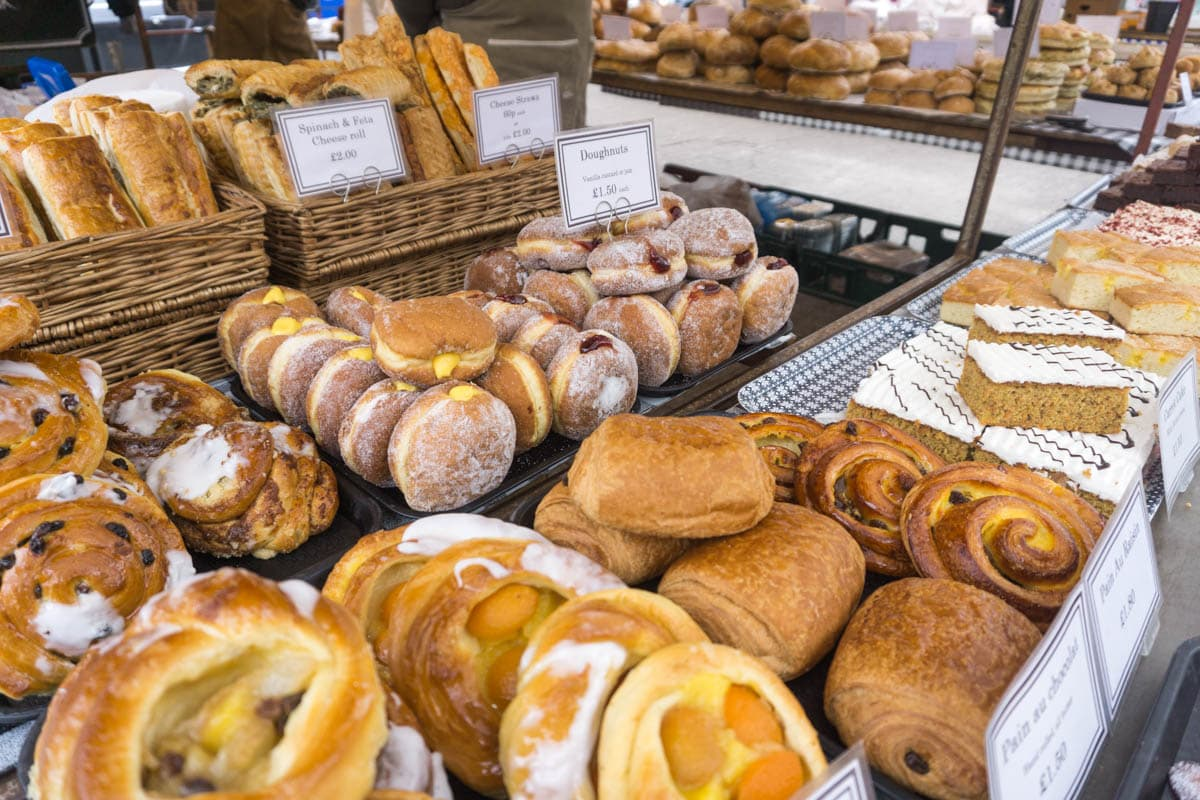 Pastries on sale at St Albans Market