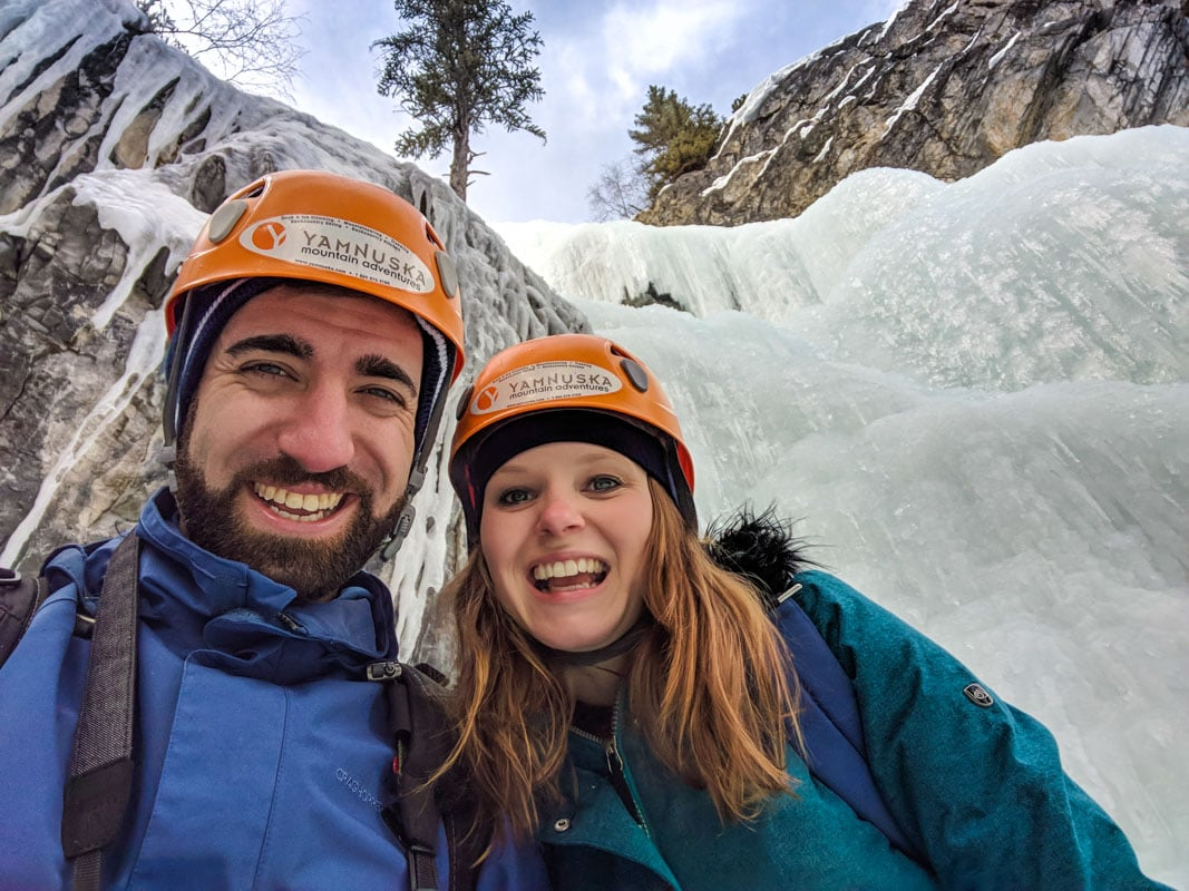 Achievement faces after ice climbing in Alberta!