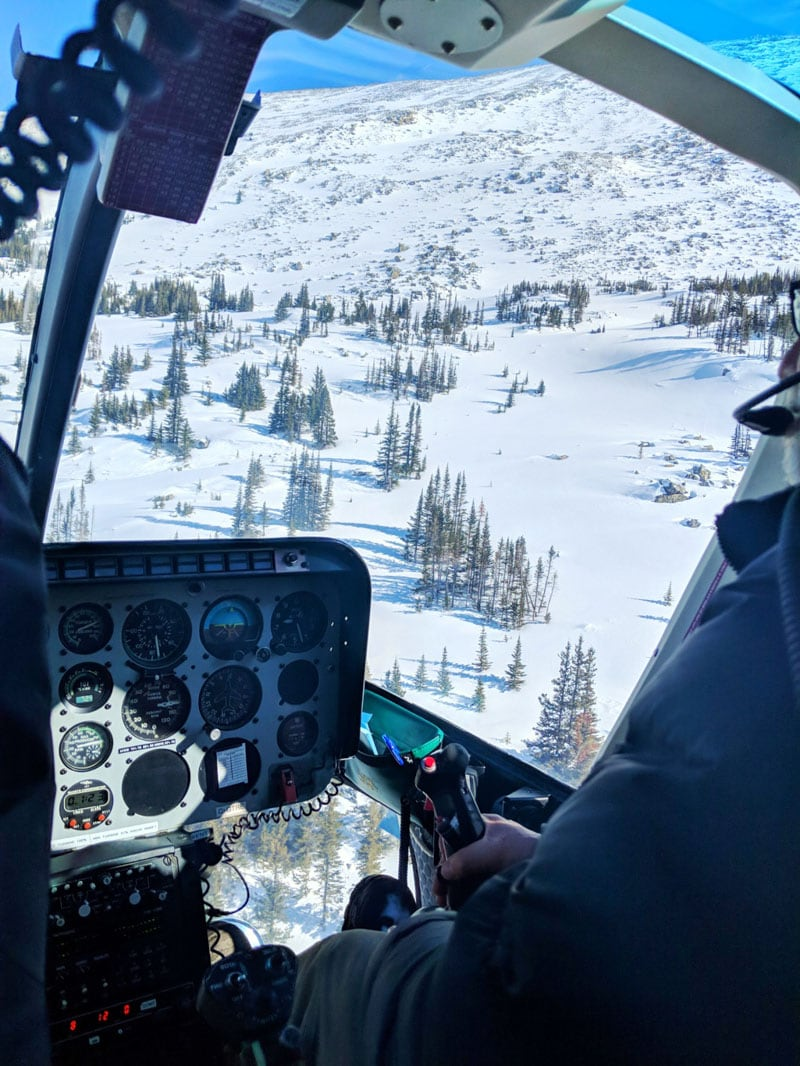 Helicopter views over the Rockies in Alberta, Canada