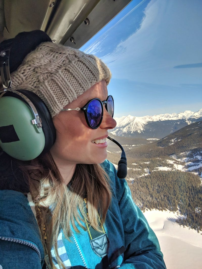 Enjoying the helicopter flight over the Canadian Rocky Mountains, Alberta