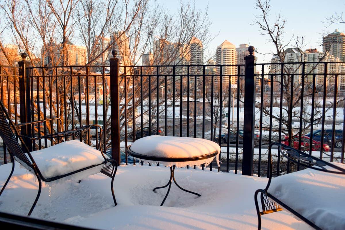 Our balcony at Kensington Riverside Inn, Calgary
