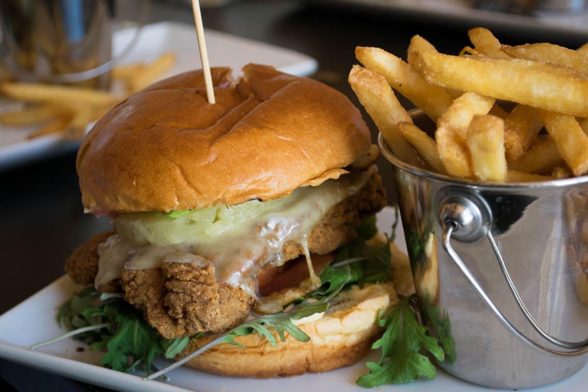 Chicken and avocado burger at Mount Norquay Ski Resort