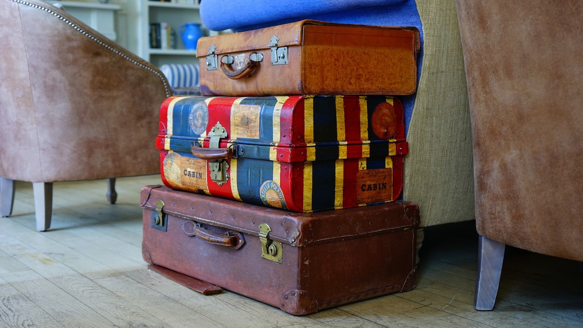 Luggage stacked up