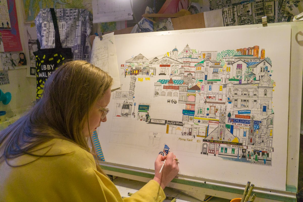 Illustrator Libby Walker at work in Glasgow's Hidden Lane