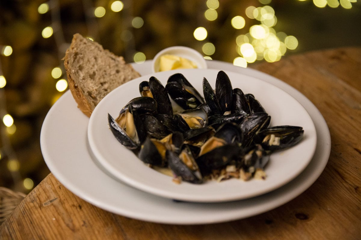 Mussels at Lusty Glaze Restaurant, Cornwall