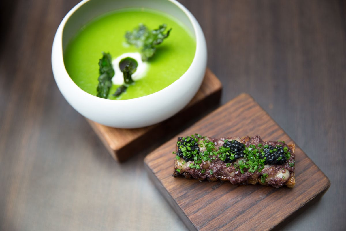Wild garlic soup with bone marrow crouton at Paul Ainsworth At No.6, Padstow