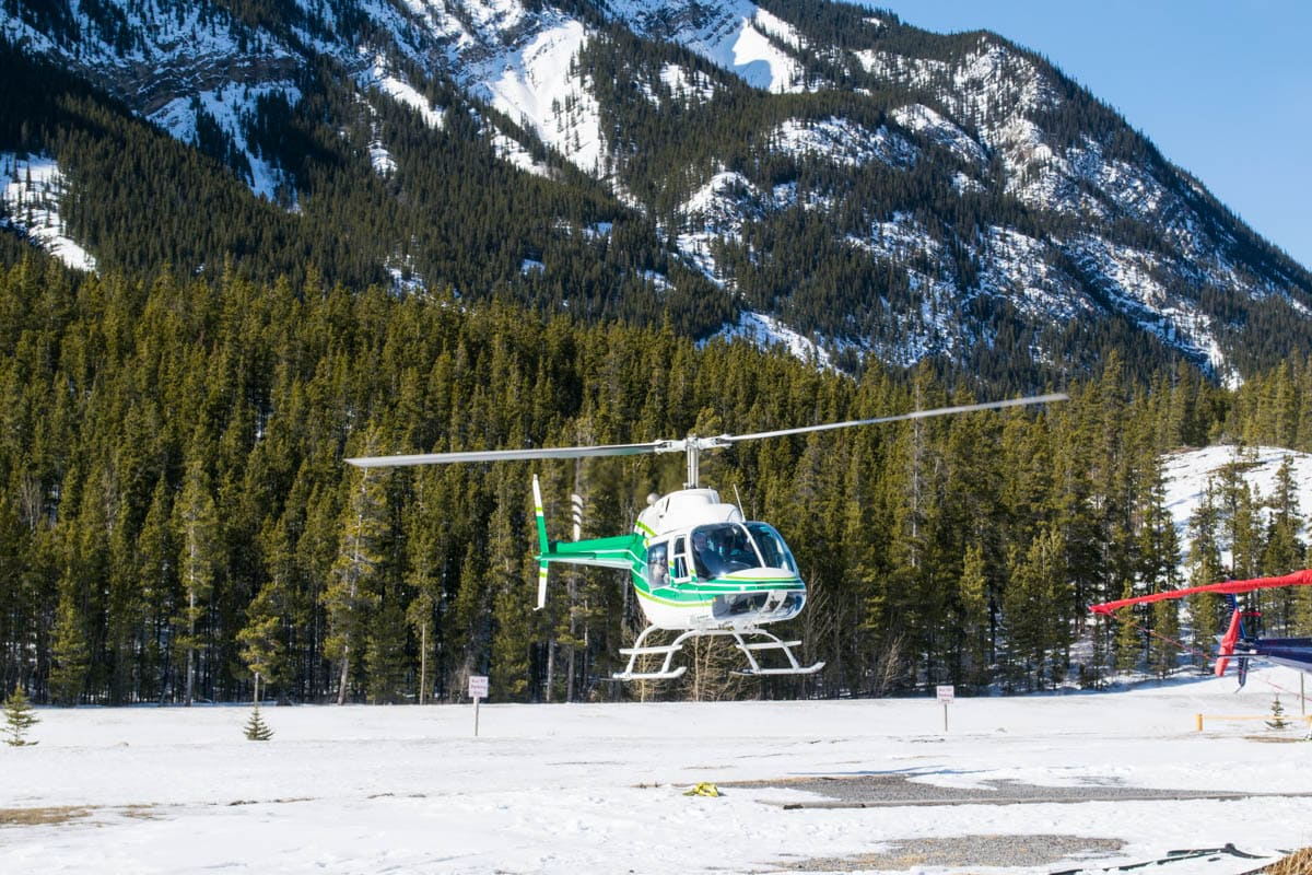 Take off time for our helicopter tour with Rockies Heli Canada