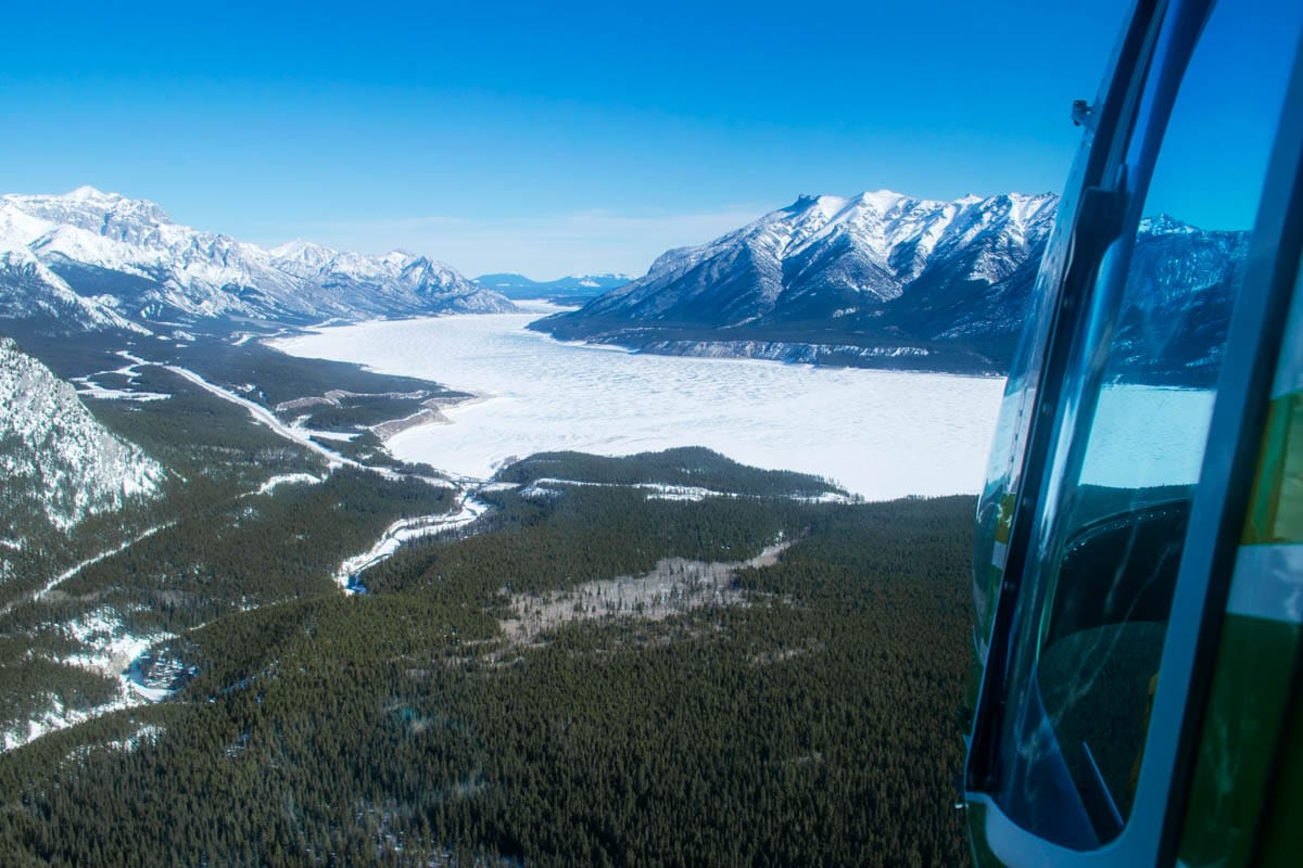 Helicopter tour over the Rocky Mountains, Alberta, Canada