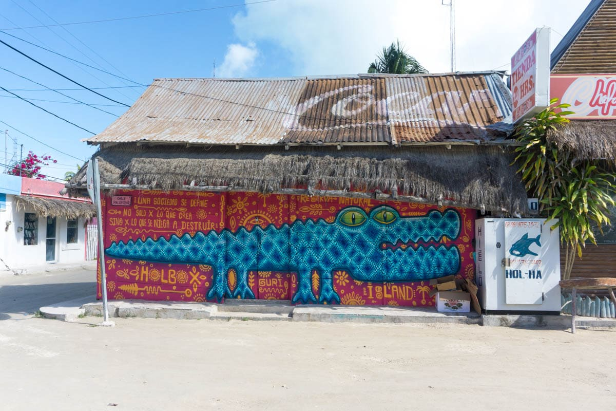 Colourful street art on Isla Holbox, Mexico