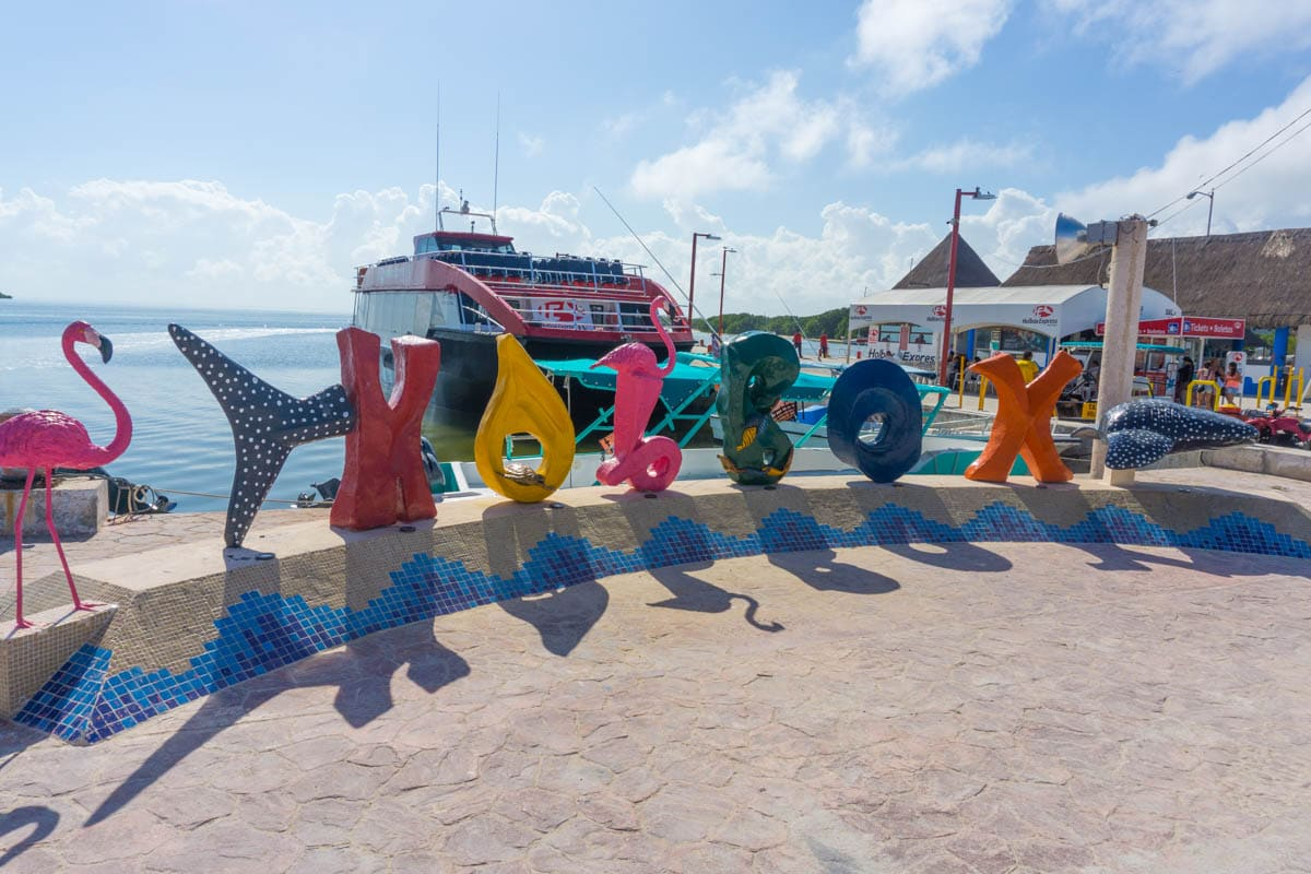 Holbox sign by the ferry port