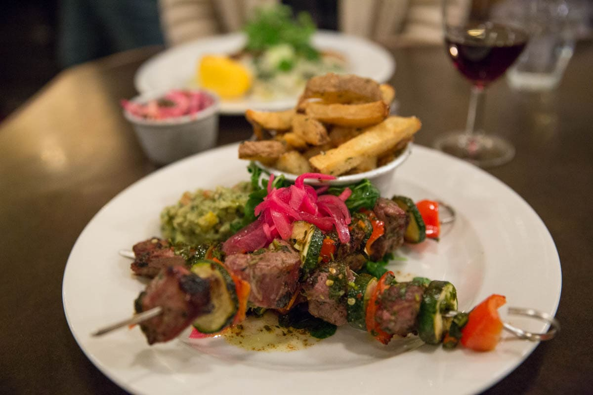 Lamb skewers at Bush Hall Dining Rooms, Shepherd's Bush, London