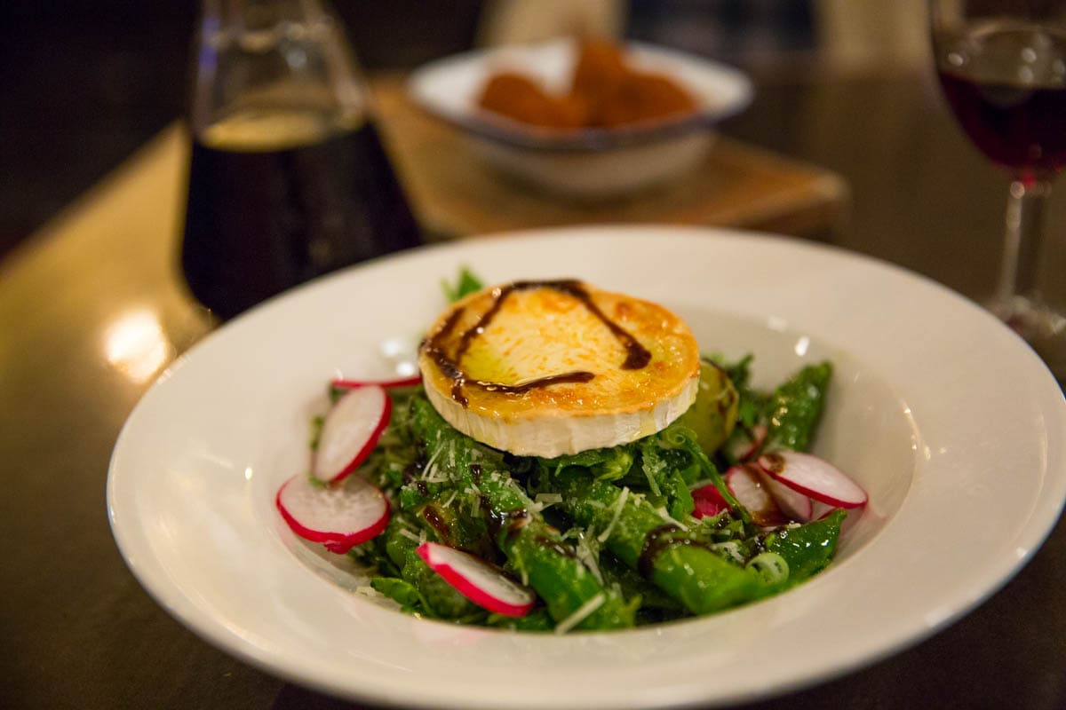 Spring salad with goats cheese at Bush Hall Dining Rooms, Shepherd's Bush, London