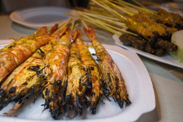 Prawn satay on Satay Street, Singapore
