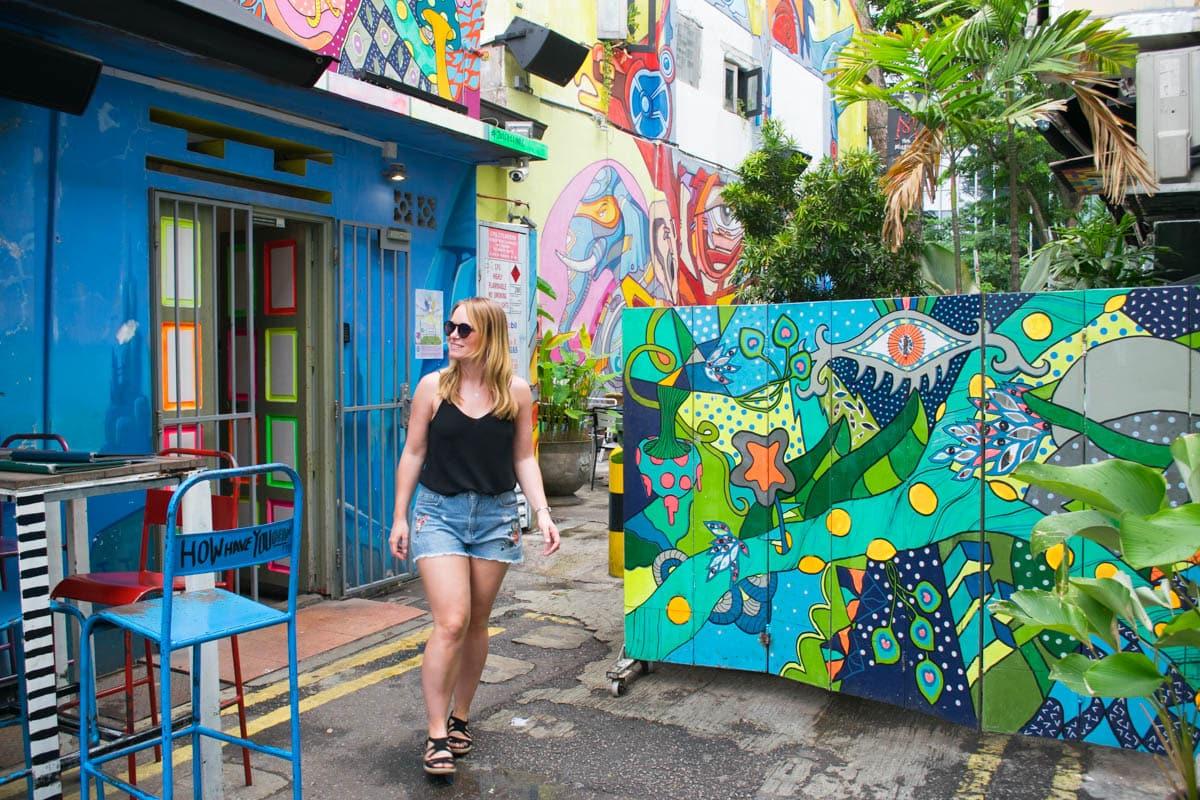 Street art near Haji Lane in Kampong Glam, Singapore
