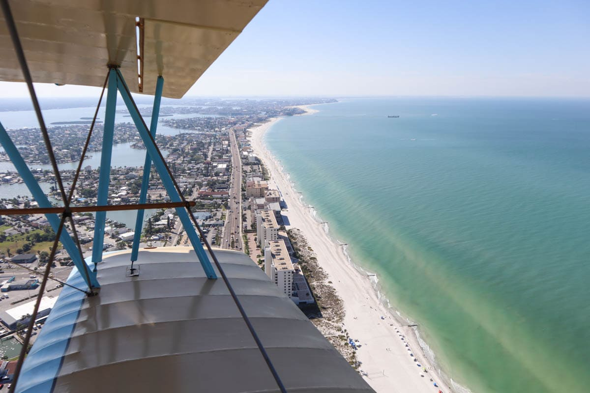 Biplane ride over St Pete Beach, Florida