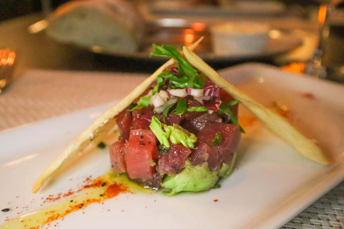 Tuna tartar at Chops Grille on board Royal Caribbean Independence Of The Seas