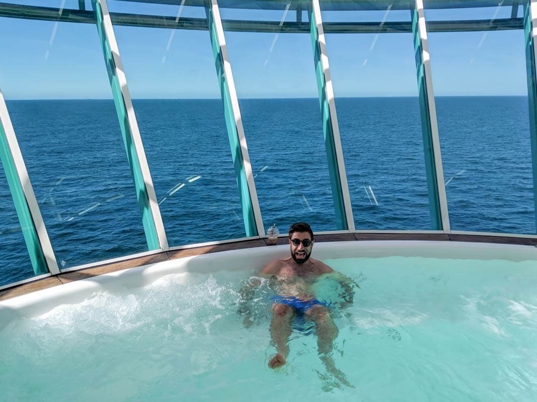 Macca relaxing in one of the jacuzzis on board Royal Caribbean Independence Of The Seas Jacuzzi