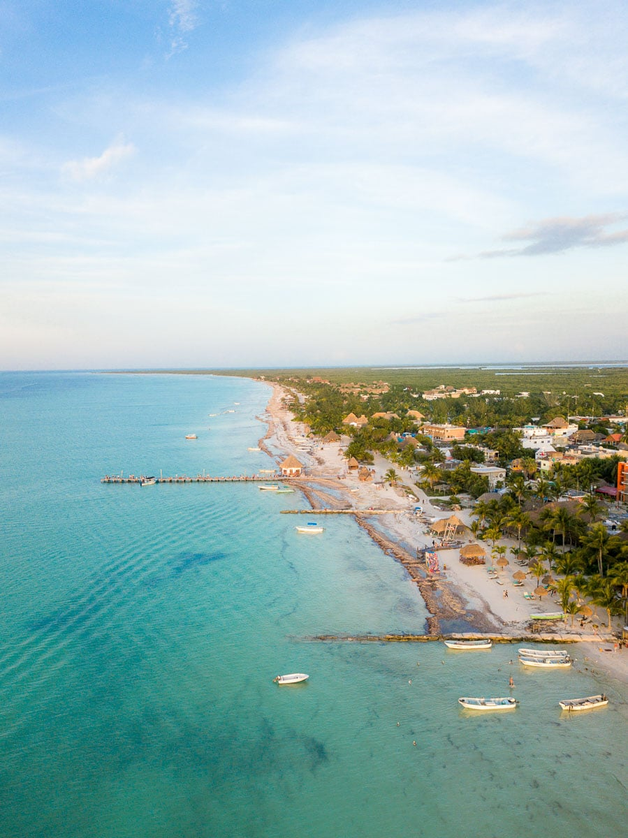Aerial views of Isla Holbox, Mexico