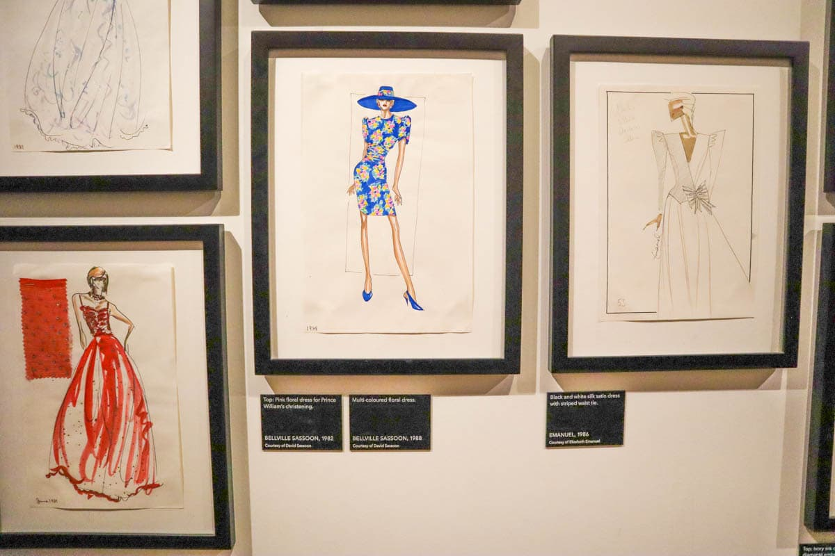 Sketches of Princess Diana's dresses, Kensington Palace, London