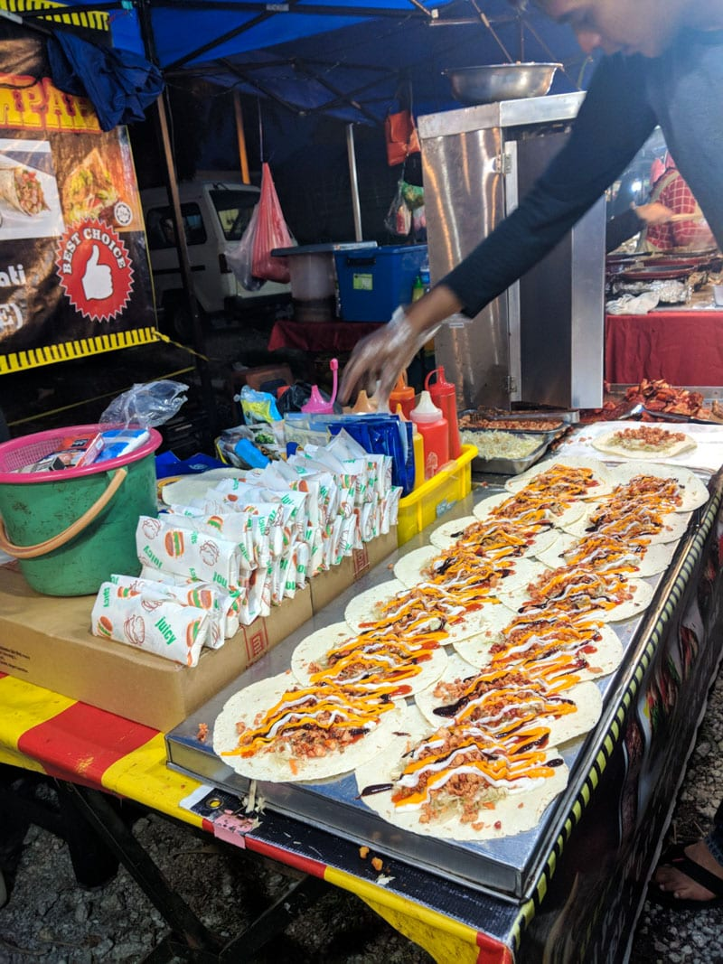 Food at Temoyang Night Market in Cenang, Langkawi