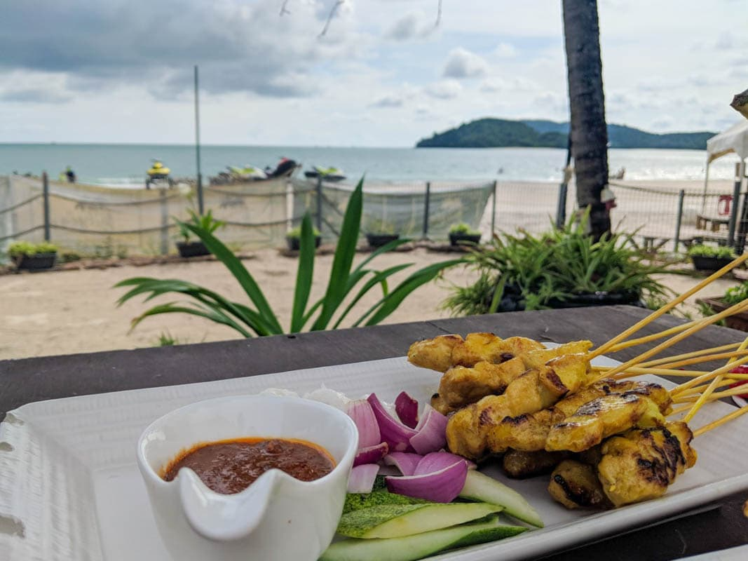 Food at one of Cenang Beach's bars in Langkawi