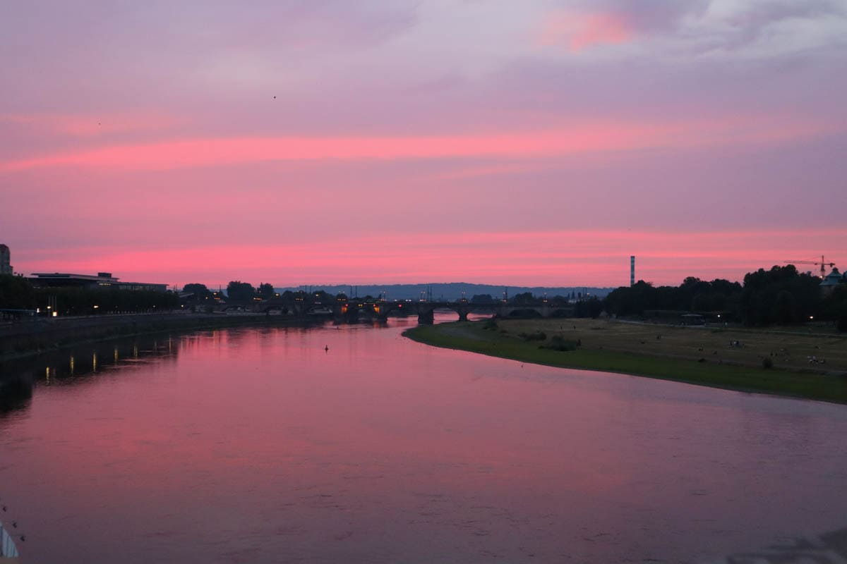 Beautiful pink sunset in Dresden