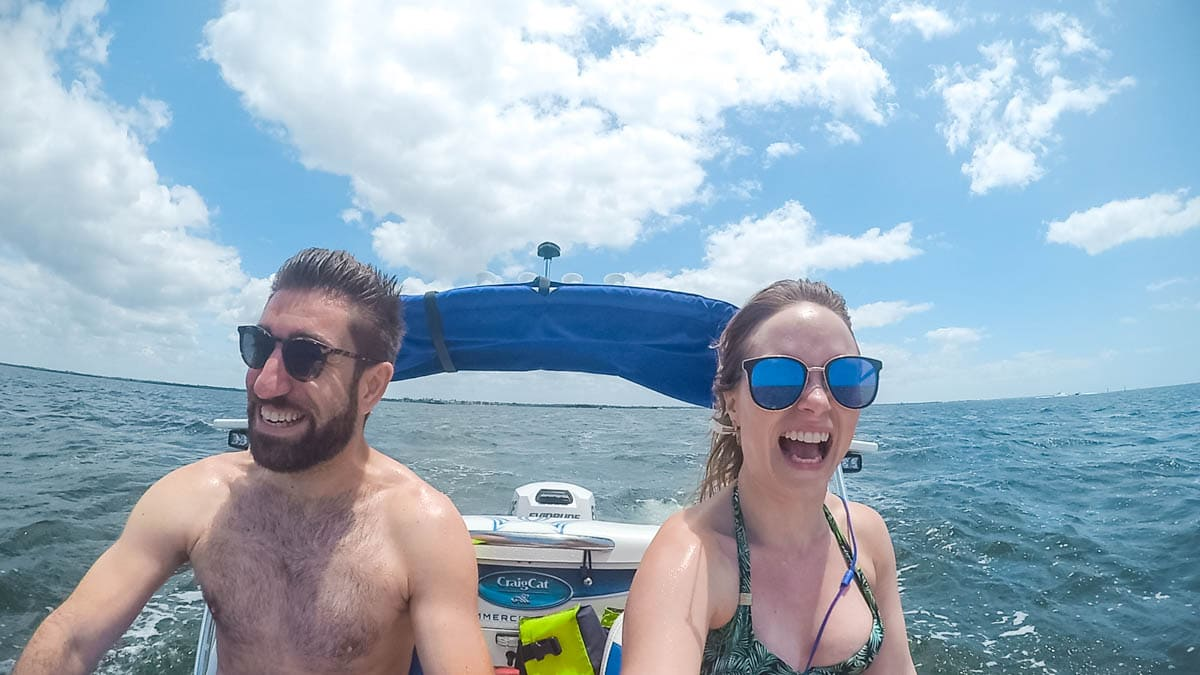 On a 2-seater catamaran in Florida (KeyMission 170)